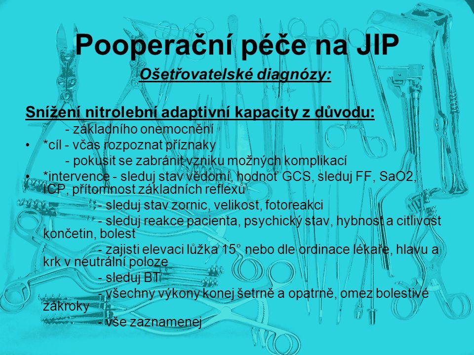 Pooperační péče na JIP Ošetřovatelské diagnózy: Snížení nitrolební adaptivní kapacity z důvodu: - základního onemocnění *cíl - včas rozpoznat příznaky