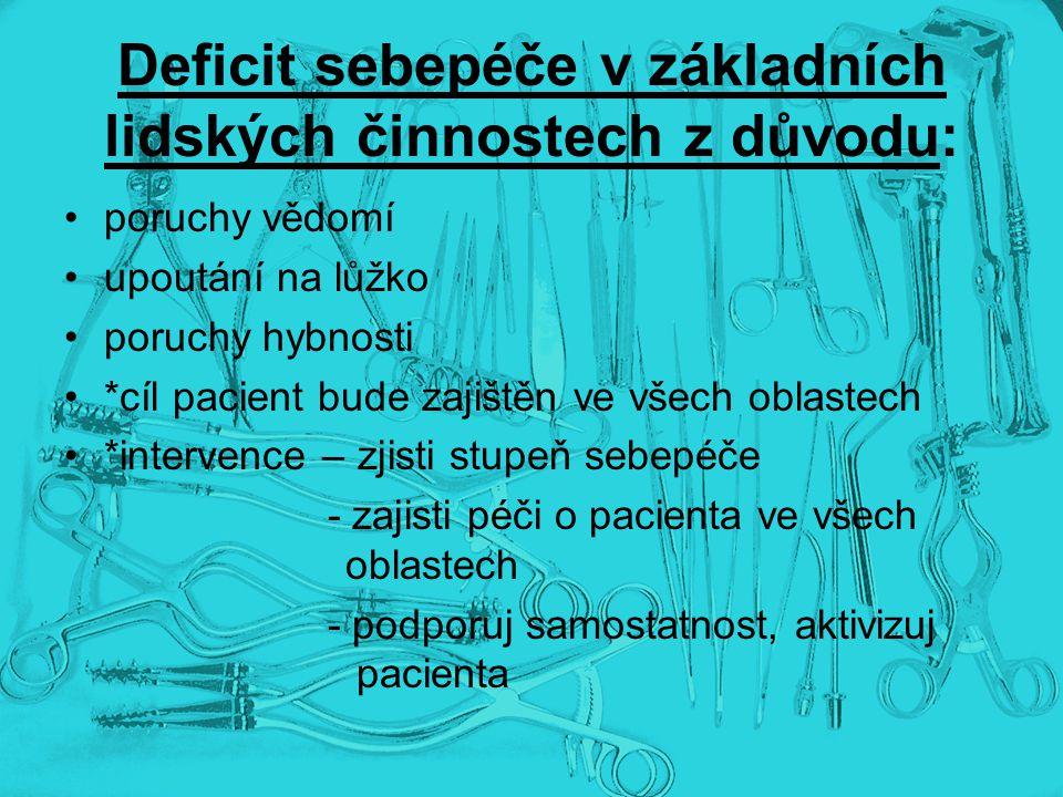 Deficit sebepéče v základních lidských činnostech z důvodu: poruchy vědomí upoutání na lůžko poruchy hybnosti *cíl pacient bude zajištěn ve všech obla