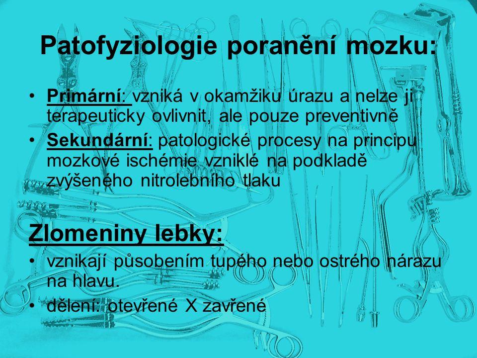 Patofyziologie poranění mozku: Primární: vzniká v okamžiku úrazu a nelze ji terapeuticky ovlivnit, ale pouze preventivně Sekundární: patologické proce