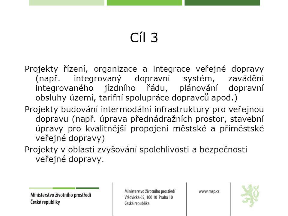 Cíl 3 Projekty řízení, organizace a integrace veřejné dopravy (např.