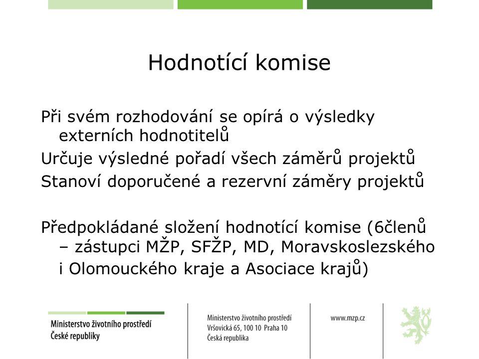 Hodnotící komise Při svém rozhodování se opírá o výsledky externích hodnotitelů Určuje výsledné pořadí všech záměrů projektů Stanoví doporučené a rezervní záměry projektů Předpokládané složení hodnotící komise (6členů – zástupci MŽP, SFŽP, MD, Moravskoslezského i Olomouckého kraje a Asociace krajů)