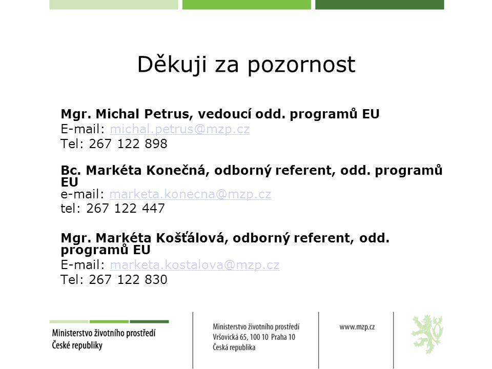 Děkuji za pozornost Mgr. Michal Petrus, vedoucí odd.