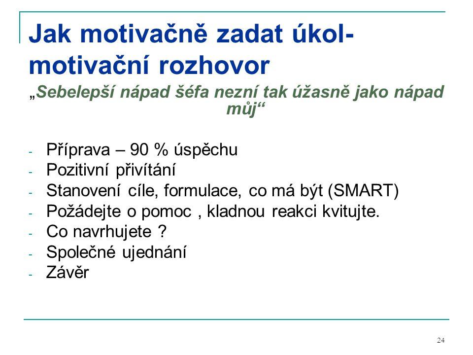 """24 Jak motivačně zadat úkol- motivační rozhovor """"Sebelepší nápad šéfa nezní tak úžasně jako nápad můj - Příprava – 90 % úspěchu - Pozitivní přivítání - Stanovení cíle, formulace, co má být (SMART) - Požádejte o pomoc, kladnou reakci kvitujte."""