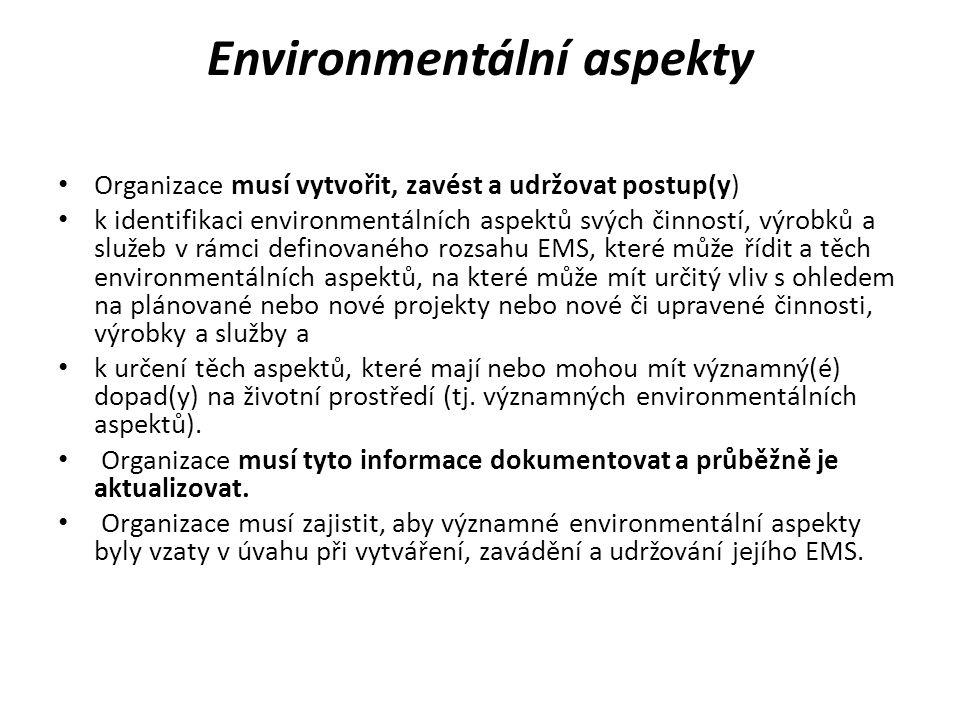 Environmentální aspekty Organizace musí vytvořit, zavést a udržovat postup(y) k identifikaci environmentálních aspektů svých činností, výrobků a služe