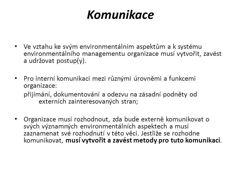 Komunikace Ve vztahu ke svým environmentálním aspektům a k systému environmentálního managementu organizace musí vytvořit, zavést a udržovat postup(y)