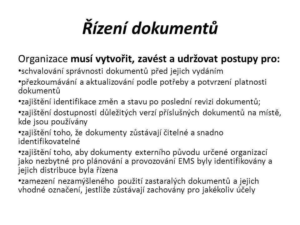 Řízení dokumentů Organizace musí vytvořit, zavést a udržovat postupy pro: schvalování správnosti dokumentů před jejich vydáním přezkoumávání a aktuali