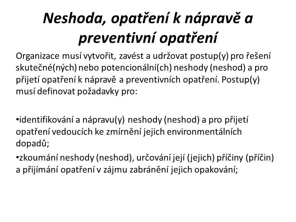 Neshoda, opatření k nápravě a preventivní opatření vyhodnocování potřeby zavést opatření k předcházení neshody (neshod) a zavádění vhodných opatření pro zamezení jejich výskytu; zaznamenávání výsledků přijatého (přijatých) opatření k nápravě a preventivního (preventivních) opatření a přezkoumávání efektivnosti přijatého (přijatých) opatření k nápravě a preventivního (preventivních) opatření.