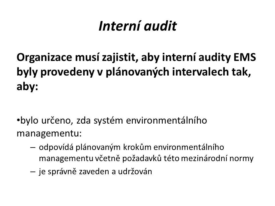 Interní audit Organizace musí zajistit, aby interní audity EMS byly provedeny v plánovaných intervalech tak, aby: bylo určeno, zda systém environmentá