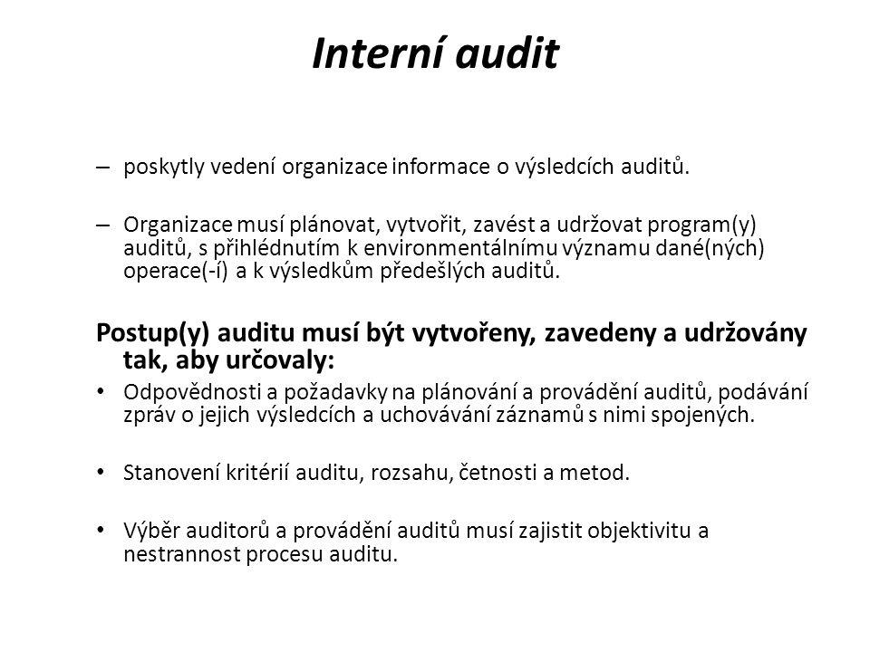 Interní audit – poskytly vedení organizace informace o výsledcích auditů. – Organizace musí plánovat, vytvořit, zavést a udržovat program(y) auditů, s