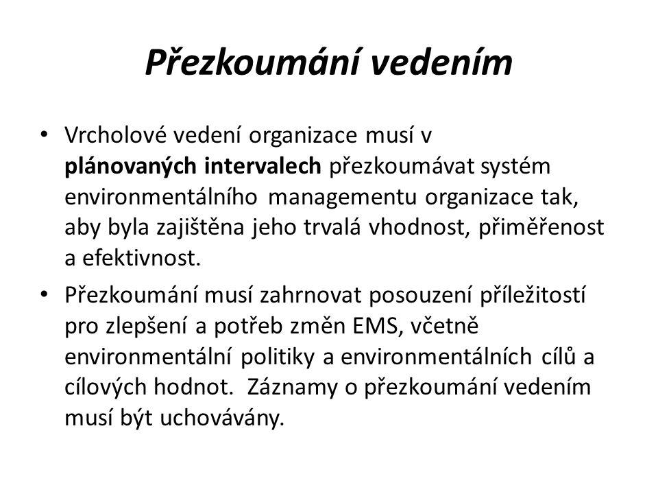 Přezkoumání vedením Vrcholové vedení organizace musí v plánovaných intervalech přezkoumávat systém environmentálního managementu organizace tak, aby b