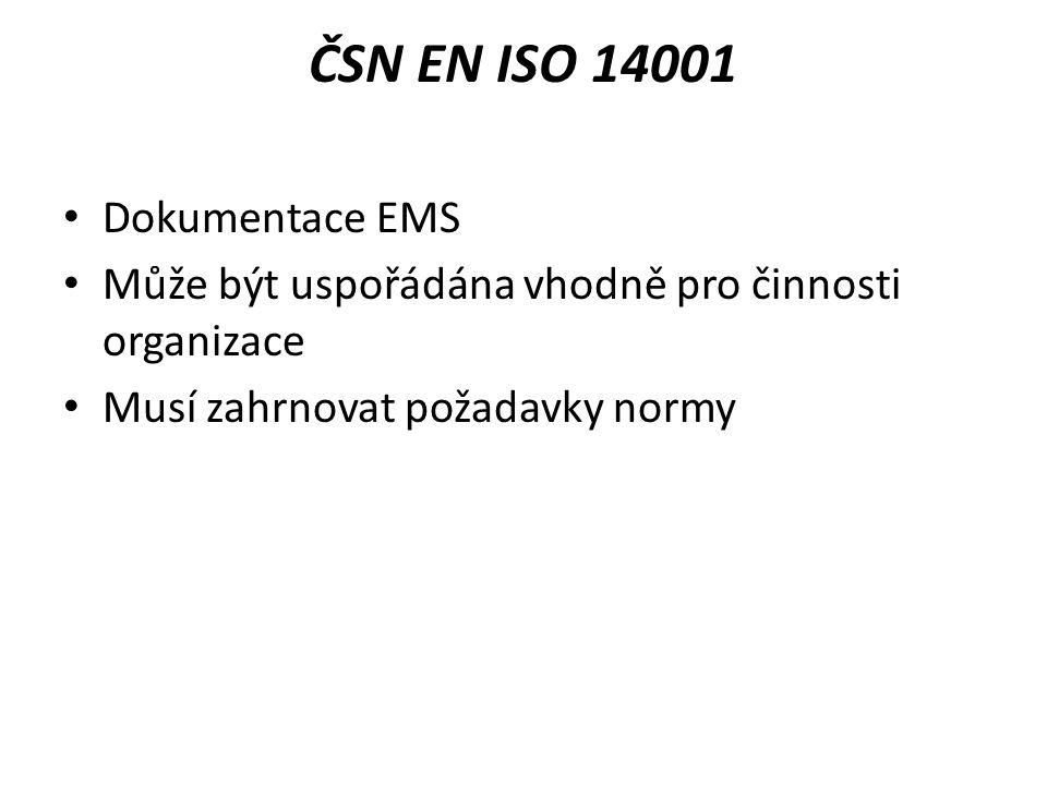 ČSN EN ISO 14001 Dokumentace EMS Může být uspořádána vhodně pro činnosti organizace Musí zahrnovat požadavky normy