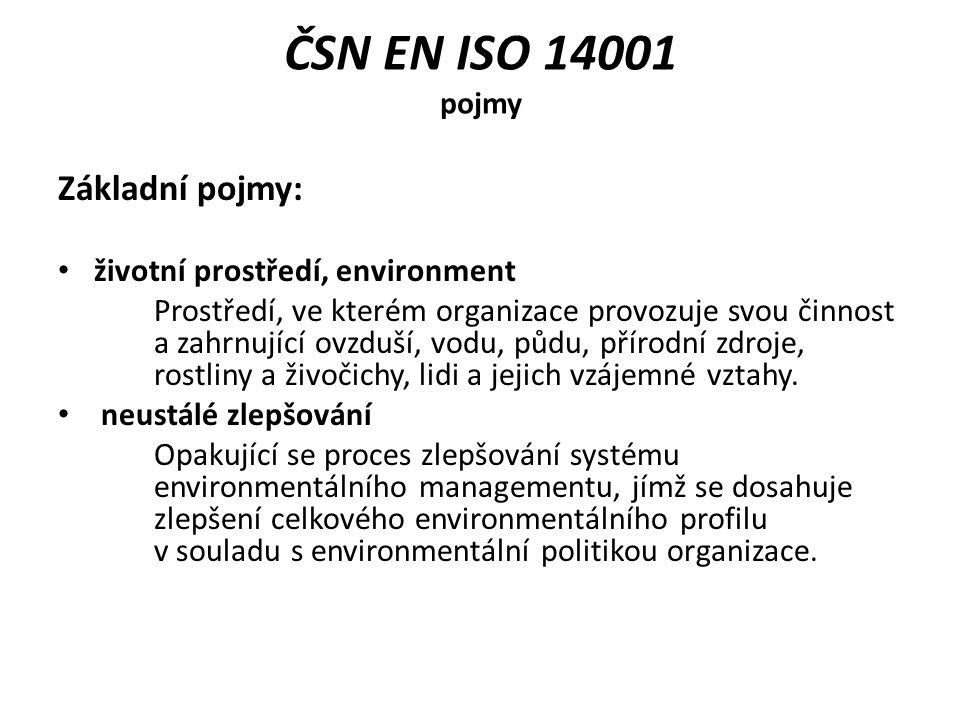 ČSN EN ISO 14001 pojmy Základní pojmy: životní prostředí, environment Prostředí, ve kterém organizace provozuje svou činnost a zahrnující ovzduší, vod