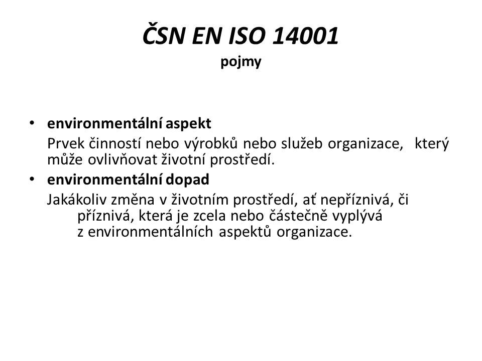 ČSN EN ISO 14001 pojmy systém environmentálního managementu, EMS Součást systému managementu organizace, použitá k vytvoření a zavedení její environmentální politiky a řízení jejich environmentálních aspektů.