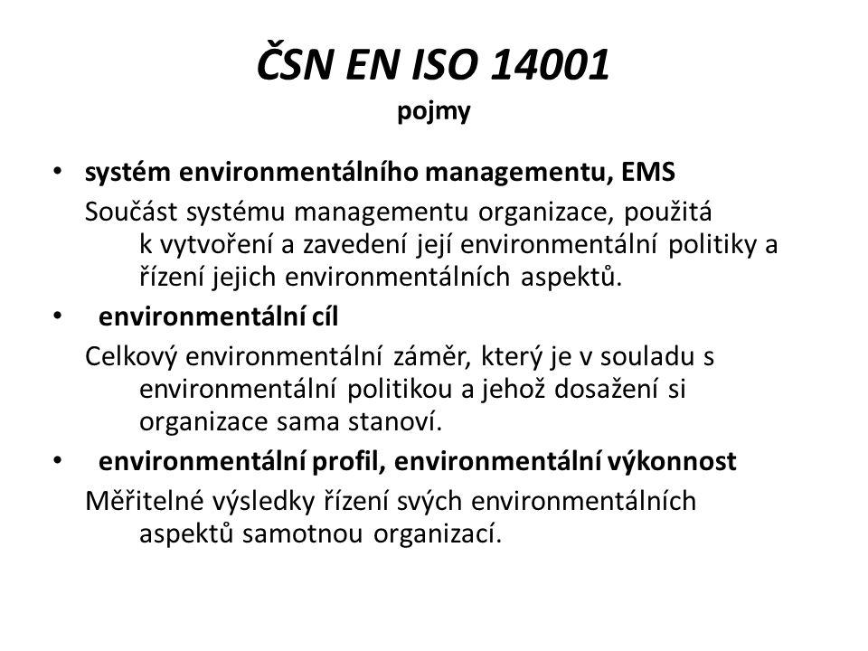 ČSN EN ISO 14001 pojmy environmentální politika Celkové záměry a zaměření organizace ve vztahu k jejímu environmentálnímu profilu, oficiálně vyjádřené vrcholovým vedením.