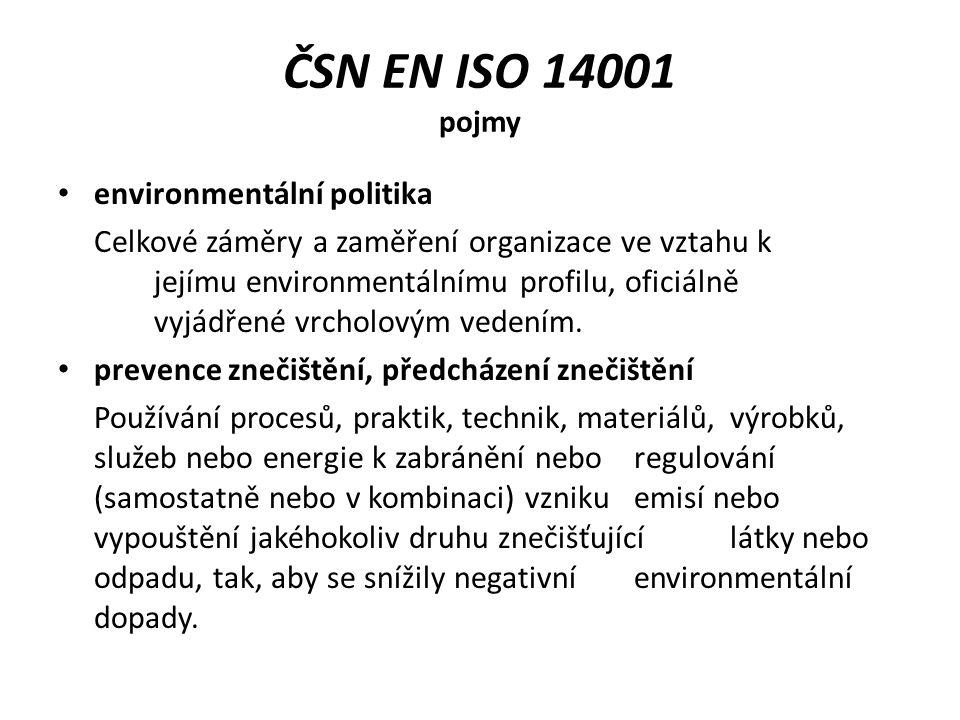 Environmentální politika Vrcholové vedení musí stanovit environmentální politiku organizace a zajistit, aby v rámci stanoveného rozsahu svého EMS: odpovídala povaze, rozsahu a environmentálním dopadům činností, výrobků a služeb organizace; obsahovala závazek k neustálému zlepšování a prevenci znečištění; obsahovala závazek být v souladu s příslušnými požadavky právních předpisů a jinými požadavky, ke kterým se organizace zavázala a které se vztahují k jejím environmentálním aspektům; poskytovala rámec pro stanovování a přezkoumání environmentálních cílů a cílových hodnot; byla dokumentována, realizována a udržována; byla sdělována všem osobám, které pracují pro organizaci nebo z pověření organizace; byla dostupná veřejnosti.