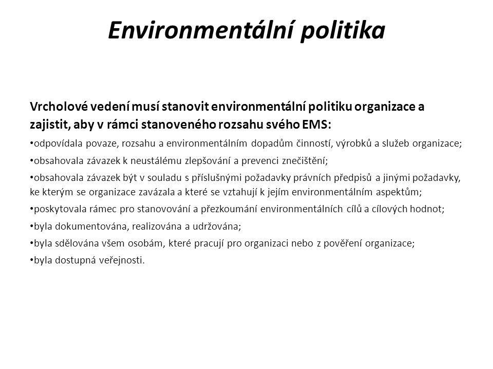 Environmentální aspekty Organizace musí vytvořit, zavést a udržovat postup(y) k identifikaci environmentálních aspektů svých činností, výrobků a služeb v rámci definovaného rozsahu EMS, které může řídit a těch environmentálních aspektů, na které může mít určitý vliv s ohledem na plánované nebo nové projekty nebo nové či upravené činnosti, výrobky a služby a k určení těch aspektů, které mají nebo mohou mít významný(é) dopad(y) na životní prostředí (tj.