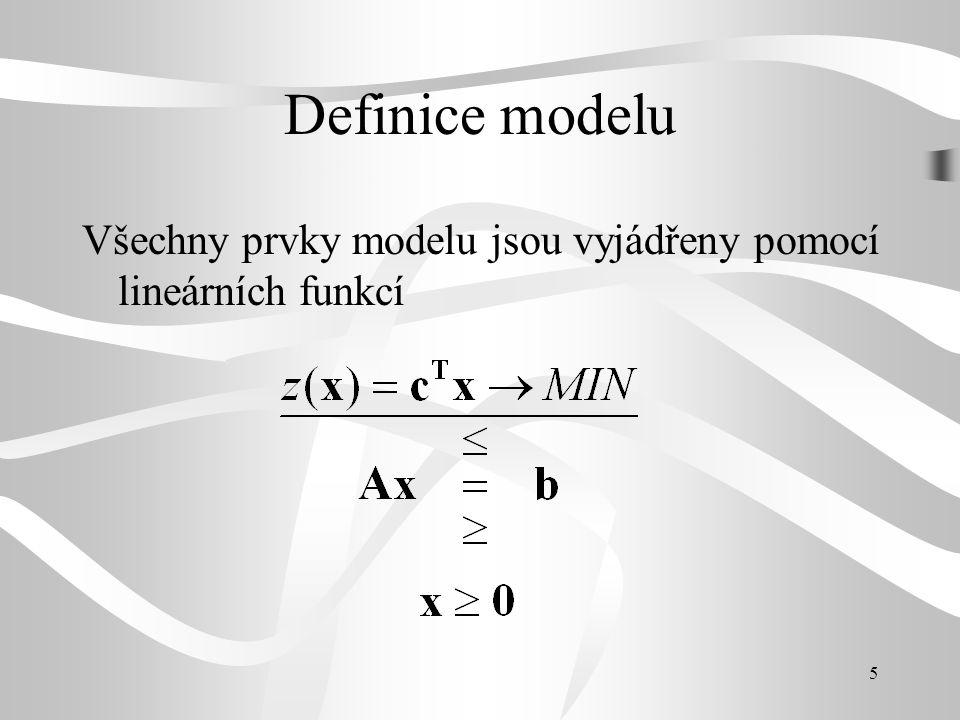 6 Definice modelu proměnné - procesy (jednotky) omezující podmínky kritérium lineární funkce a linerární rovnice a nerovnice