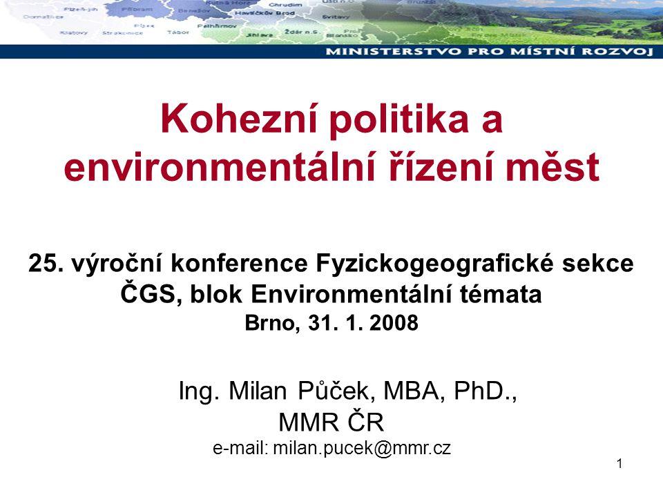1 Kohezní politika a environmentální řízení měst 25.