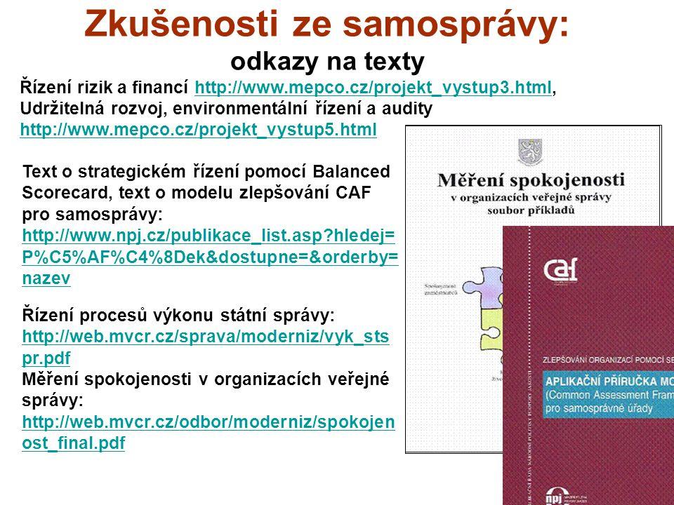 25 Zkušenosti ze samosprávy: odkazy na texty Řízení rizik a financí http://www.mepco.cz/projekt_vystup3.html,http://www.mepco.cz/projekt_vystup3.html Udržitelná rozvoj, environmentální řízení a audity http://www.mepco.cz/projekt_vystup5.html http://www.mepco.cz/projekt_vystup5.html Text o strategickém řízení pomocí Balanced Scorecard, text o modelu zlepšování CAF pro samosprávy: http://www.npj.cz/publikace_list.asp hledej= P%C5%AF%C4%8Dek&dostupne=&orderby= nazev http://www.npj.cz/publikace_list.asp hledej= P%C5%AF%C4%8Dek&dostupne=&orderby= nazev Řízení procesů výkonu státní správy: http://web.mvcr.cz/sprava/moderniz/vyk_sts pr.pdf http://web.mvcr.cz/sprava/moderniz/vyk_sts pr.pdf Měření spokojenosti v organizacích veřejné správy: http://web.mvcr.cz/odbor/moderniz/spokojen ost_final.pdf http://web.mvcr.cz/odbor/moderniz/spokojen ost_final.pdf