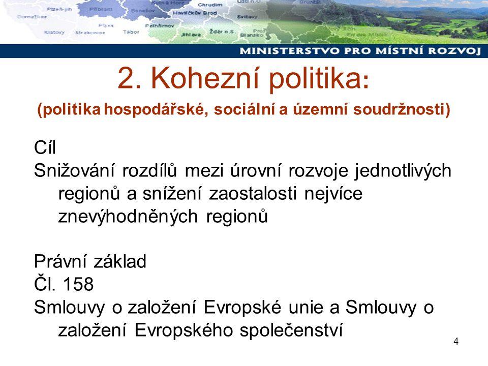 4 2. Kohezní politika : (politika hospodářské, sociální a územní soudržnosti) Cíl Snižování rozdílů mezi úrovní rozvoje jednotlivých regionů a snížení