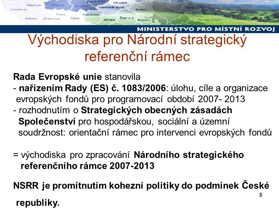 8 Východiska pro Národní strategický referenční rámec Rada Evropské unie stanovila - nařízením Rady (ES) č.