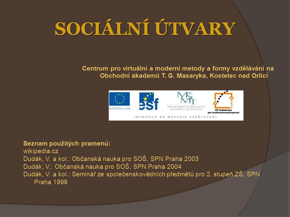 SOCIÁLNÍ ÚTVARY Centrum pro virtuální a moderní metody a formy vzdělávání na Obchodní akademii T.