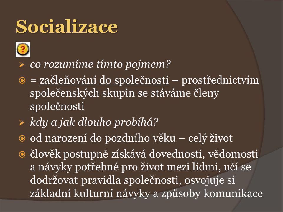 Socializace Způsoby socializace: a)záměrné působení = výchova b)nezáměrné působení – okolí, reklama, filmy, knihy, chování druhých lidí c)vlastní aktivita jedince – člověk si sám vybírá a rozhoduje se mezi jednotlivými podněty