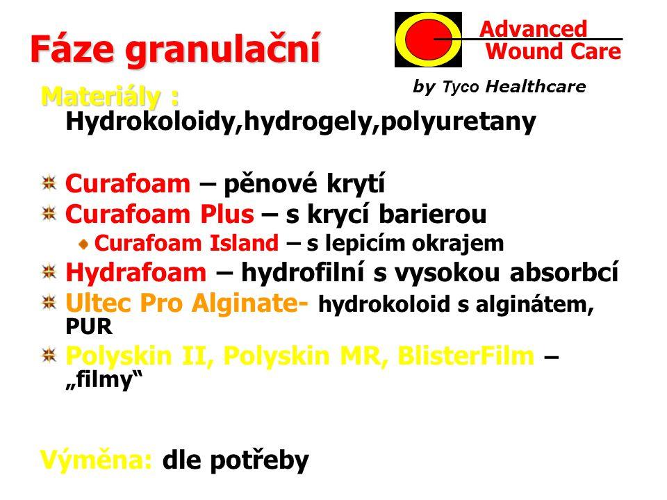 """Fáze granulační Materiály : Materiály : Hydrokoloidy,hydrogely,polyuretany Curafoam – pěnové krytí Curafoam Plus – s krycí barierou Curafoam Island – s lepicím okrajem Hydrafoam – hydrofilní s vysokou absorbcí Ultec Pro Alginate- hydrokoloid s alginátem, PUR Polyskin II, Polyskin MR, BlisterFilm – """"filmy Výměna: dle potřeby Advanced Wound Care by Tyco Healthcare"""