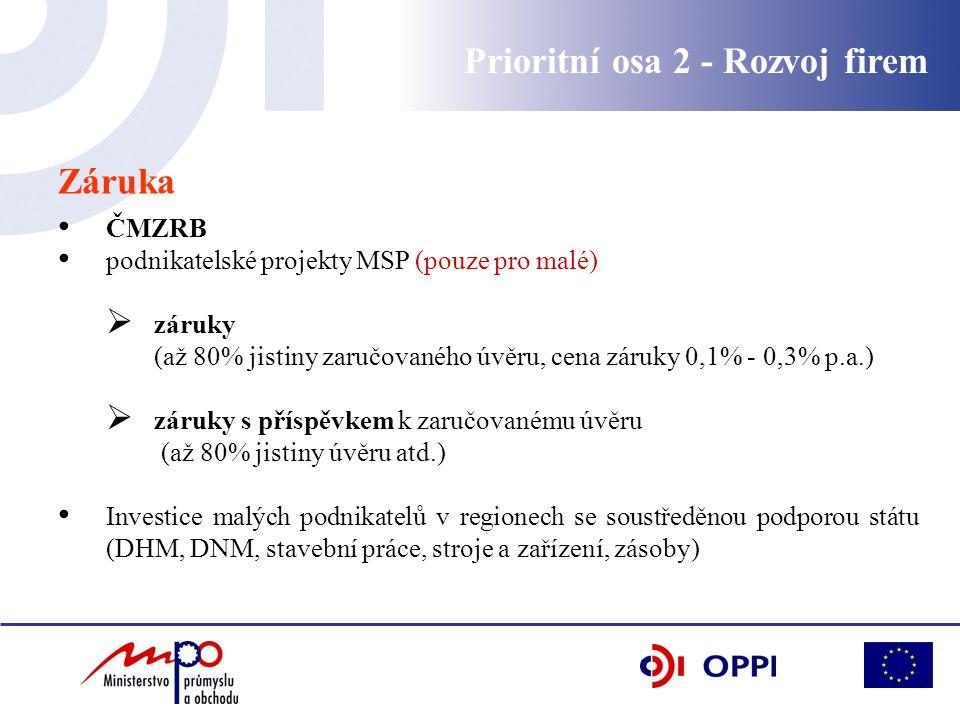 Prioritní osa 2 - Rozvoj firem Záruka ČMZRB podnikatelské projekty MSP (pouze pro malé)  záruky (až 80% jistiny zaručovaného úvěru, cena záruky 0,1%
