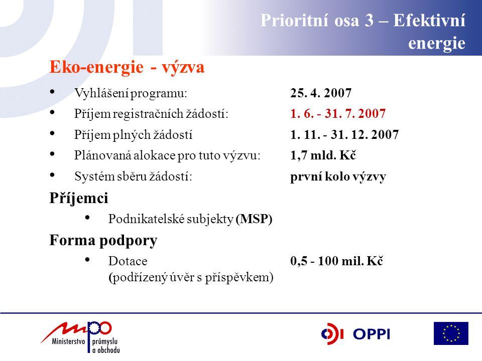 Eko-energie - výzva Vyhlášení programu: 25. 4. 2007 Příjem registračních žádostí: 1. 6. - 31. 7. 2007 Příjem plných žádostí 1. 11. - 31. 12. 2007 Plán