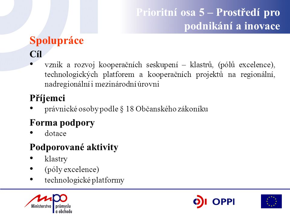 Spolupráce Cíl vznik a rozvoj kooperačních seskupení – klastrů, (pólů excelence), technologických platforem a kooperačních projektů na regionální, nad