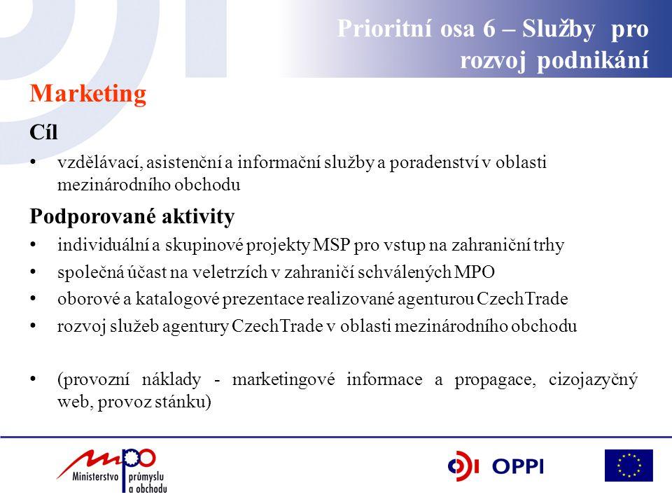 Marketing Cíl vzdělávací, asistenční a informační služby a poradenství v oblasti mezinárodního obchodu Podporované aktivity individuální a skupinové p