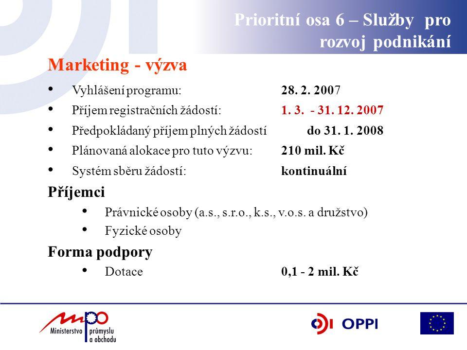Marketing - výzva Vyhlášení programu: 28. 2. 2007 Příjem registračních žádostí: 1. 3. - 31. 12. 2007 Předpokládaný příjem plných žádostí do 31. 1. 200