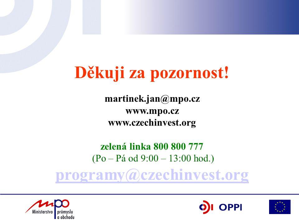 Děkuji za pozornost! martinek.jan@mpo.cz www.mpo.cz www.czechinvest.org zelená linka 800 800 777 (Po – Pá od 9:00 – 13:00 hod.) programy@czechinvest.o