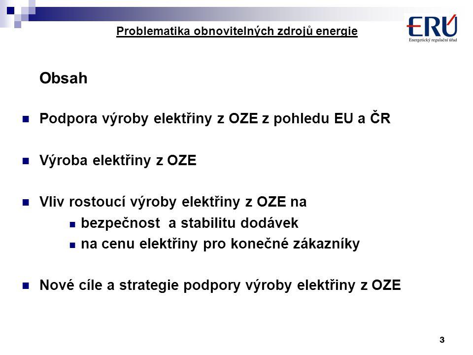 3 Problematika obnovitelných zdrojů energie Obsah Podpora výroby elektřiny z OZE z pohledu EU a ČR Výroba elektřiny z OZE Vliv rostoucí výroby elektři