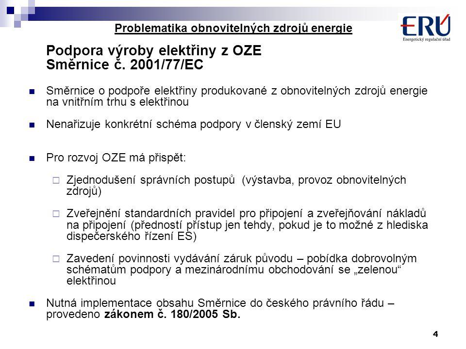 4 Problematika obnovitelných zdrojů energie Podpora výroby elektřiny z OZE Směrnice č. 2001/77/EC Směrnice o podpoře elektřiny produkované z obnovitel