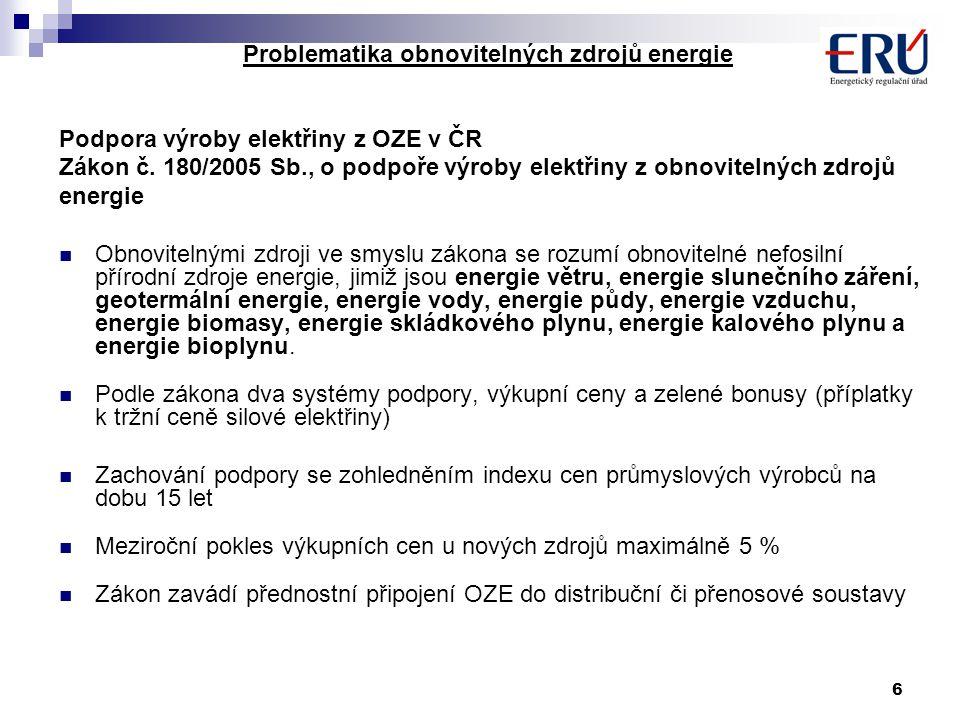 6 Problematika obnovitelných zdrojů energie Podpora výroby elektřiny z OZE v ČR Zákon č. 180/2005 Sb., o podpoře výroby elektřiny z obnovitelných zdro