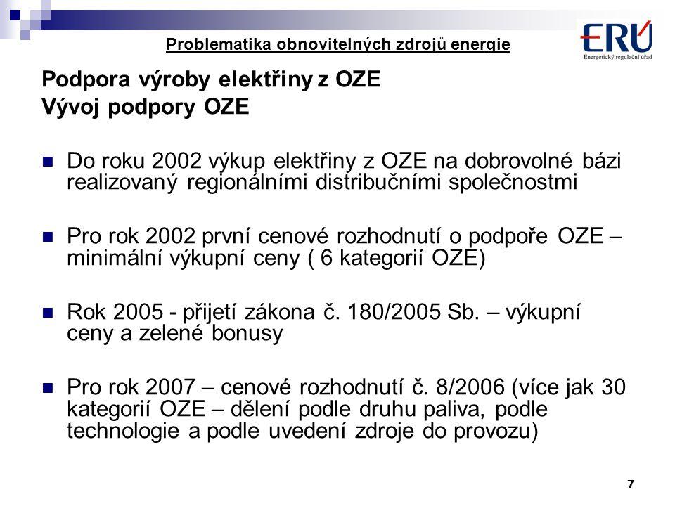 7 Problematika obnovitelných zdrojů energie Podpora výroby elektřiny z OZE Vývoj podpory OZE Do roku 2002 výkup elektřiny z OZE na dobrovolné bázi realizovaný regionálními distribučními společnostmi Pro rok 2002 první cenové rozhodnutí o podpoře OZE – minimální výkupní ceny ( 6 kategorií OZE) Rok 2005 - přijetí zákona č.