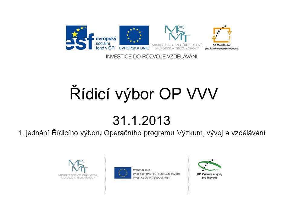 Řídicí výbor OP VVV 31.1.2013 1. jednání Řídicího výboru Operačního programu Výzkum, vývoj a vzdělávání