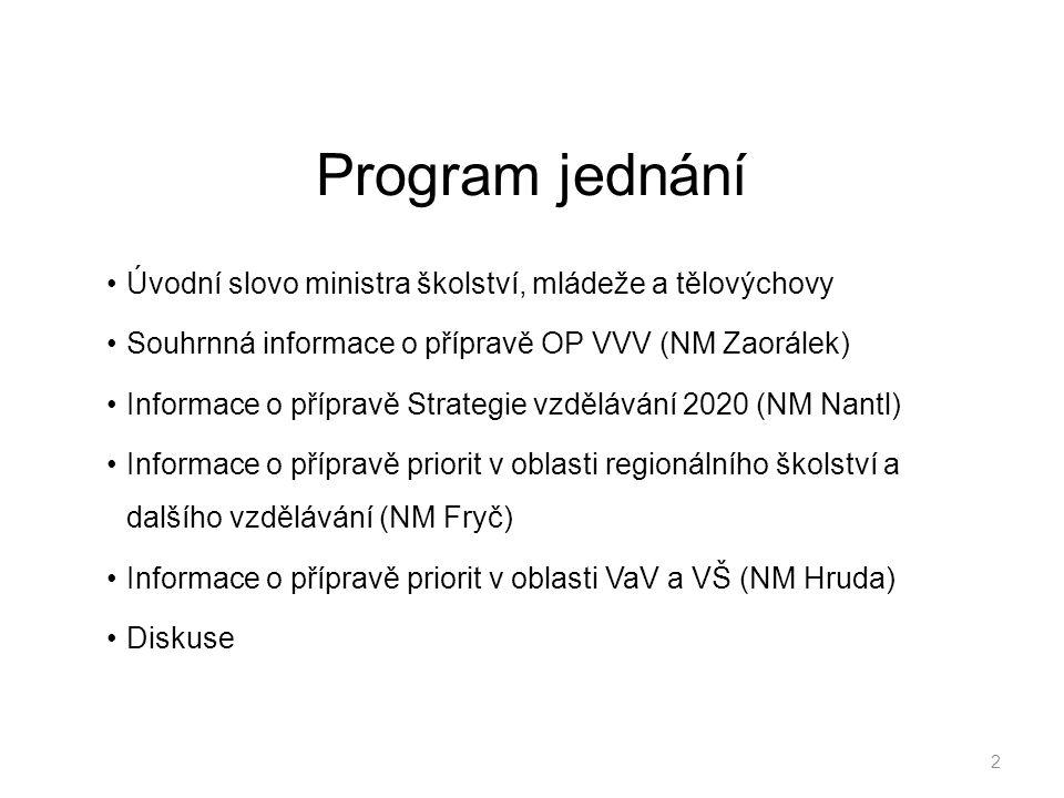 Program jednání Úvodní slovo ministra školství, mládeže a tělovýchovy Souhrnná informace o přípravě OP VVV (NM Zaorálek) Informace o přípravě Strategi