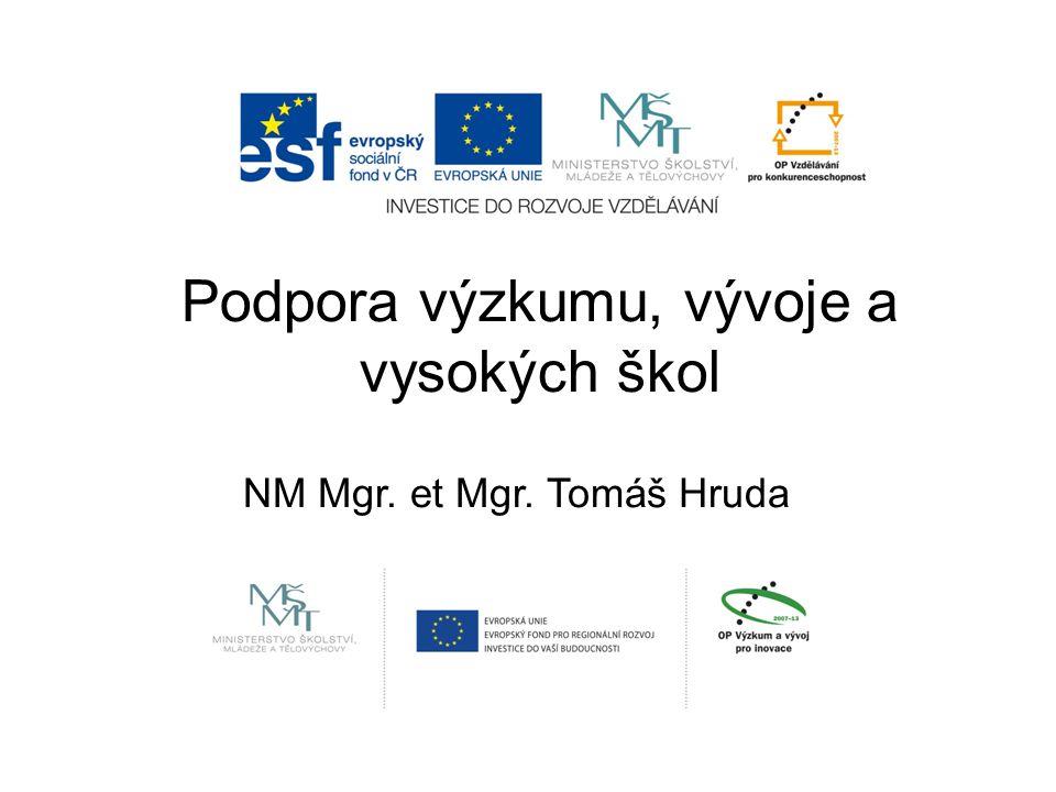 Podpora výzkumu, vývoje a vysokých škol NM Mgr. et Mgr. Tomáš Hruda