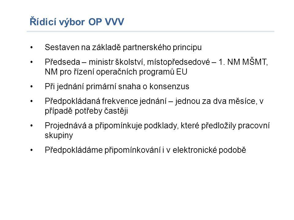 Řídicí výbor OP VVV Sestaven na základě partnerského principu Předseda – ministr školství, místopředsedové – 1. NM MŠMT, NM pro řízení operačních prog