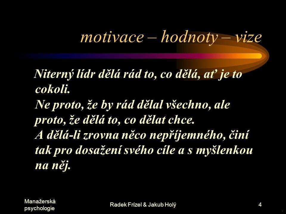 Manažerská psychologie Radek Frízel & Jakub Holý4 motivace – hodnoty – vize Niterný lídr dělá rád to, co dělá, ať je to cokoli. Ne proto, že by rád dě