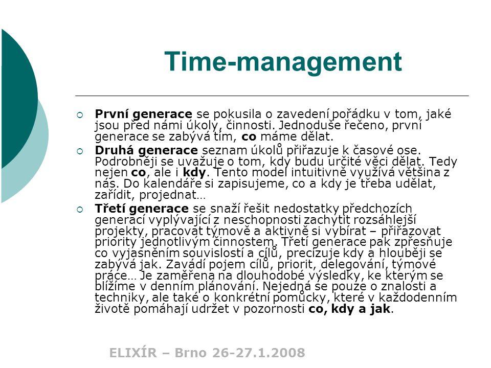 Time-management  První generace se pokusila o zavedení pořádku v tom, jaké jsou před námi úkoly, činnosti.
