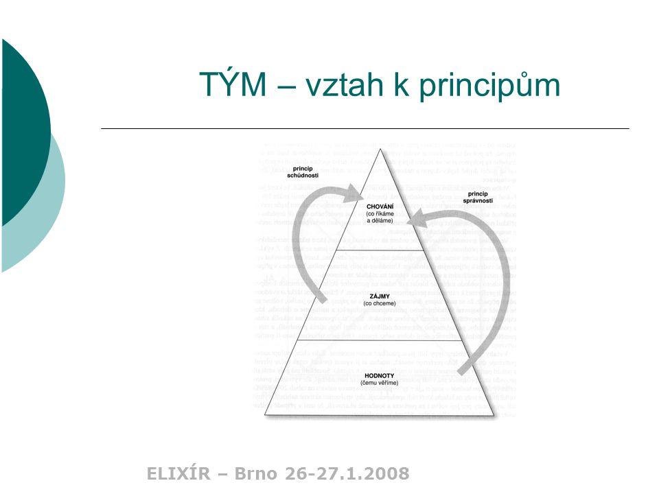 ELIXÍR – Brno 26-27.1.2008 TÝM – vztah k principům