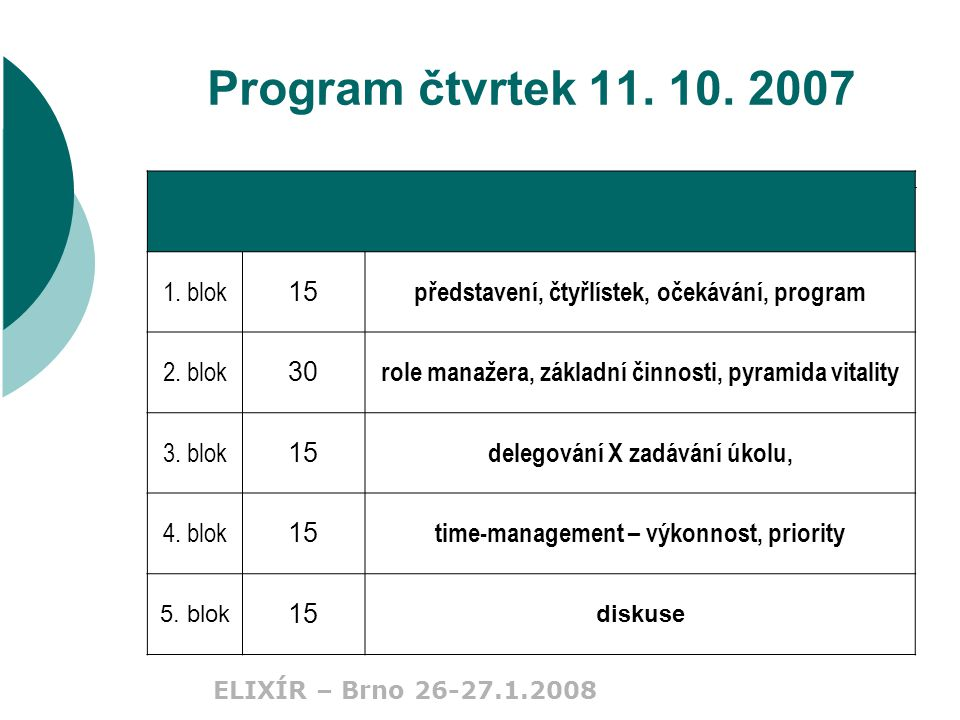 ELIXÍR – Brno 26-27.1.2008 Time-management IV.generace  člověk je víc než čas;  cesta je víc než cíl;  zevnitř je víc než zvenku;  pomalu je víc než rychle;