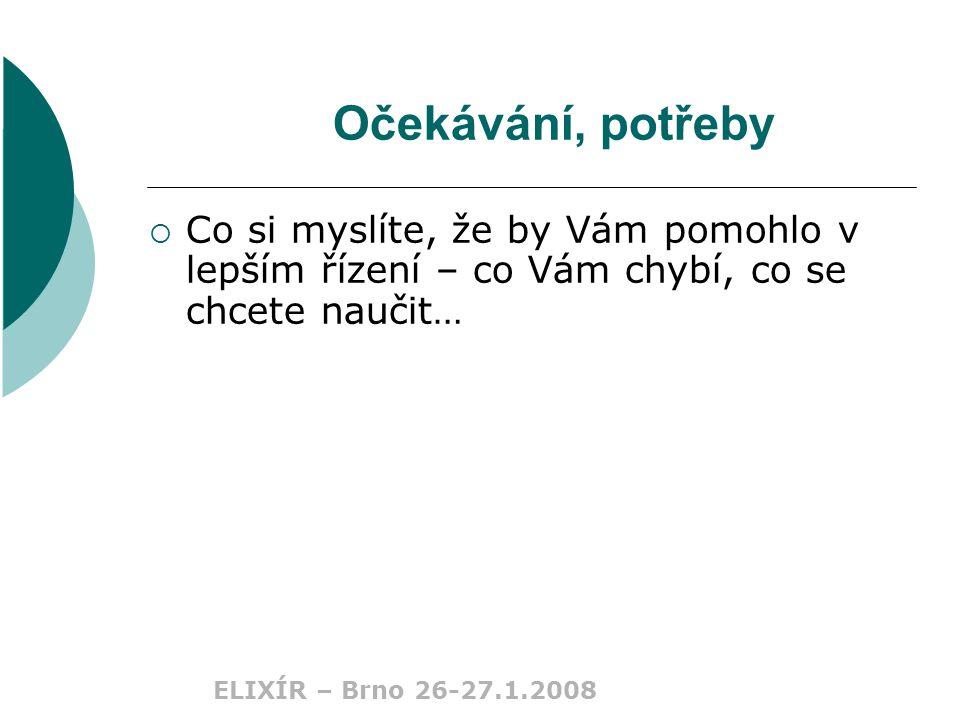 ELIXÍR – Brno 26-27.1.2008 Cíle setkání  stručně informovat o tématech, do kterých musí hlouběji pronikat všichni, kdo vedou a řídí  každý účastník by si měl odnášet představu o principech, které nyní většina manažerů uplatňuje  každý účastník bude vědět co se v dnešní době stává konkurenční výhodou!!!
