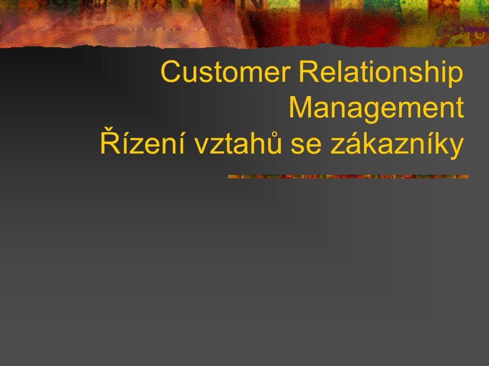 Customer Relationship Management Řízení vztahů se zákazníky