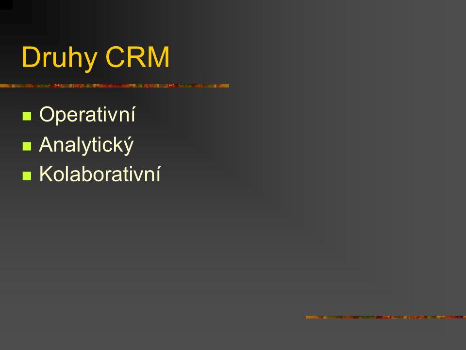 Druhy CRM Operativní Analytický Kolaborativní