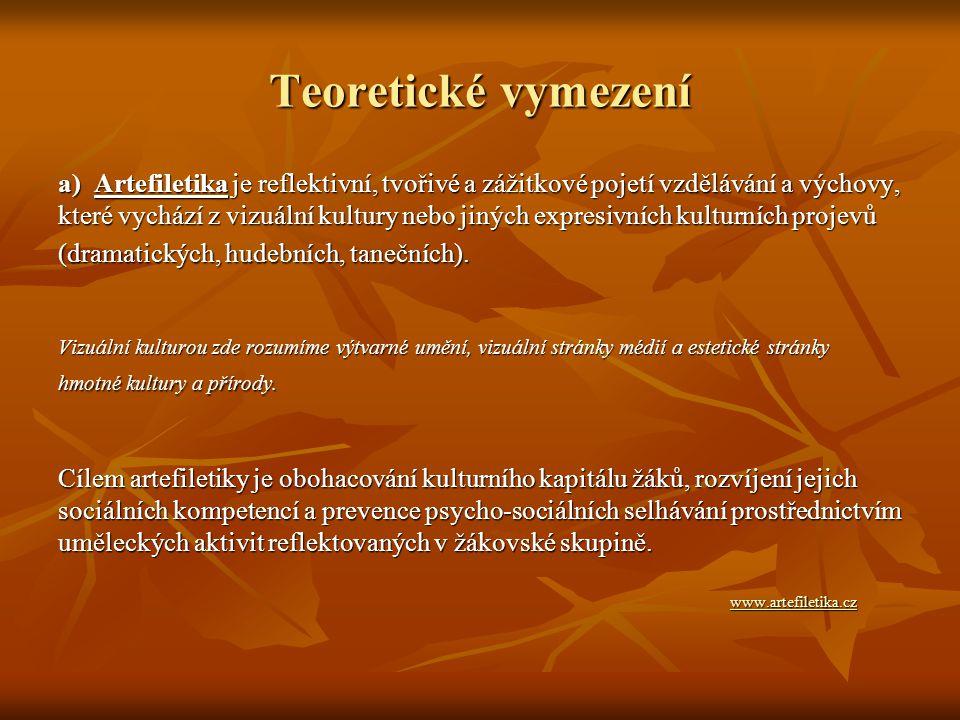 Teoretické vymezení a) Artefiletika je reflektivní, tvořivé a zážitkové pojetí vzdělávání a výchovy, které vychází z vizuální kultury nebo jiných expr
